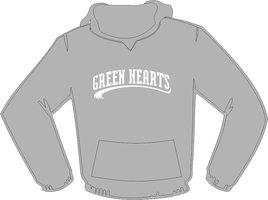 Green Hearts Hoodie Grey