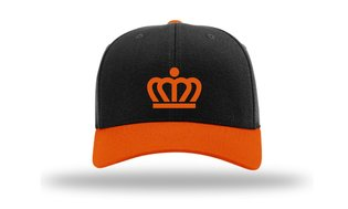 KingCap585Kr - Richardson Kingdom Cap Black/Orange Kroon
