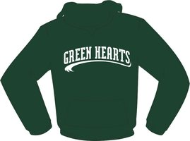 Green Hearts Hoodie Green