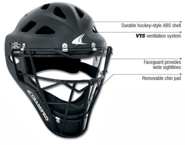 CM6M - Champro Rubberized Mat Finish PRO-PLUS Catcher's Hockey Stijl Helm